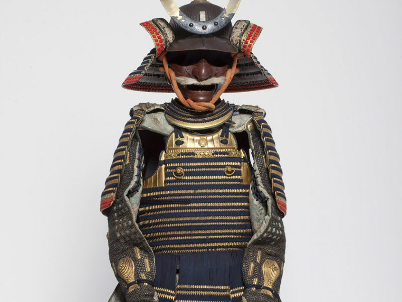 Detail view of a Japanese suit of armor.